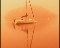 Yacht at dawn on Windermere